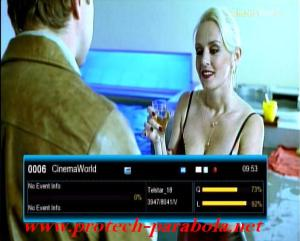 CINEMA WORLD HD on Freq 3947 V 8040 @ Telstar 18 Kualitas Signal